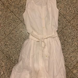 White Button Front Tie Front Dress